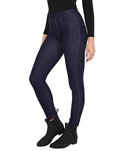 KRISP Damen Denim Leggings Slim Jeggings High Waist Stretch, Marineblau, Small/Medium, 3350-NVY-SM