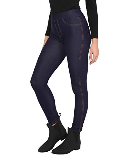 KRISP Damen Denim Leggings Slim Jeggings High Waist Stretch, Marineblau, Medium/Large, 3350-NVY-ML