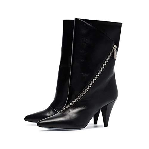 NA Gel Nail Mujeres Botines De Tobillero, Señoras Plisado Botas De Cuero De Patente, Tacones Altos Señoras Zapatos De Tacón Alto, 38