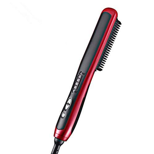 Brosse Lissante Chauffante Haut de Gamme Brosse lisseur Cheveux, Défriser les Cheveux Anti Scald Anti Statique Fer à lisser avec Technologie Ionique Céramique Coiffeu Chauffage Rapide (Rouge)