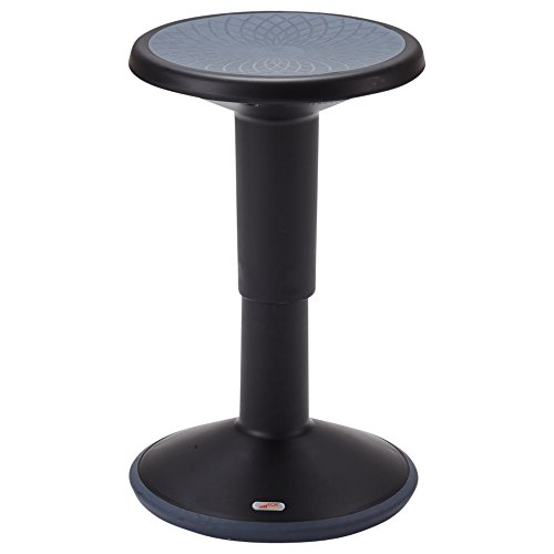 ECR4Kids SitWell Height-Adjustable Wobble Stool - Active Flexible Seating Chair for Kids and Adults - School and Office, Black