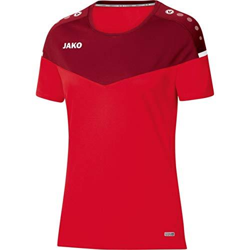 JAKO Damen Champ 2.0 T-Shirt, rot/Weinrot, 38
