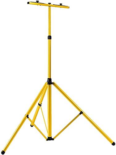 Hengda Teleskop Stativ für Baustrahler LED Halogen Strahler Fluter Scheinwerfer Gelb Stahlstativ, stufenlos höhenverstellbar von 64 bis zu 158cm Kann 2 Lichter setzen