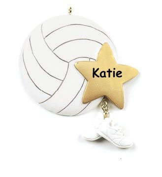 Personalized Volleyball Player Christmas Ornament - Ball with Star and Shoes - Free Custom Name
