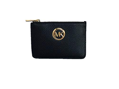 Slim pebbled leather coin pouch ID card case with gold-tone hardware. Top-zip closure. MK logo medallion detail. Exterior: Back clear ID window, (2) credit card slots and multifunction slip pocket. Interior: Logo lining; tethered split key ring. Appr...