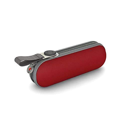 Knirps X1 Pod Manuell Ultra kompakter leichter Aluminium windabweisend (bis zu 80 MPH) 8 Streben 95 cm Reise-Regenschirm mit 95% UV-Schutz, rot (Rot) - 811-200