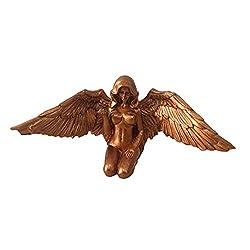 Delisouls Engel-Kunst-Dekoration, Kunstengel, weibliche Frau, Flügel, kniend, Umhang, Hut, Figur aus Kunstharz, Ornament für Garten, Zuhause, Kunst-Dekoration