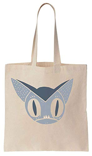 Finest Prints Little Bat Face Creepy Grey Portrait Cotton Canvas Tote Bag