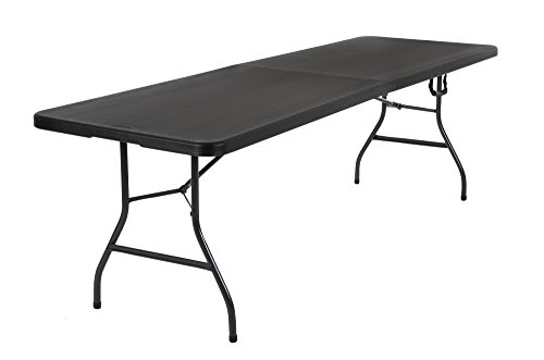 COSCO Deluxe 8 foot x 30 inch Fold-in-Half Blow Molded Folding Table, Black