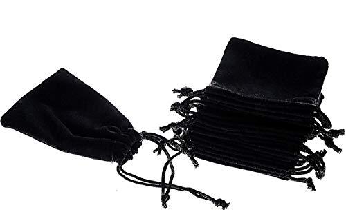 Mini Skater 50pcs Jewelry Velvet Cloth Pouch Black Drawstring Small Bags for Dice 2.75'' x 3.5''