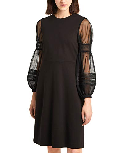 French Connection | Mesh & Lace Bubble-Sleeve Kleid | Black | 12