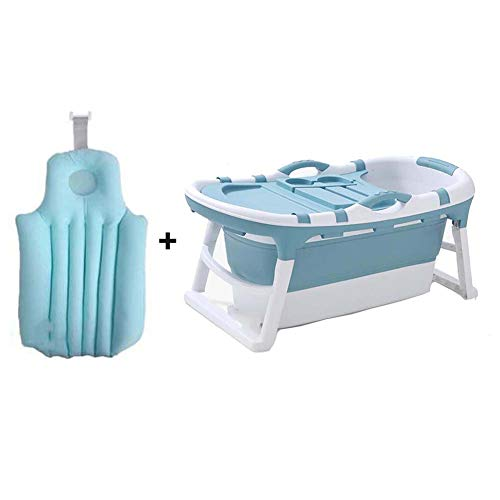 FCDWHJ Babybadewanne, Säugling Babywanne, mit Sicherheitsbadesitz babybadewanne,Faltbare Badewanne für Neugeborene für 0-2 Jahre,Blau