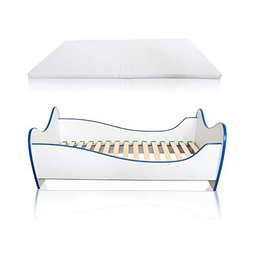 Alcube Kinderbett Swinging Blue Edge 140 x 70 cm mit Rausfallschutz, Lattenrost und Matratze MDF beschichtet