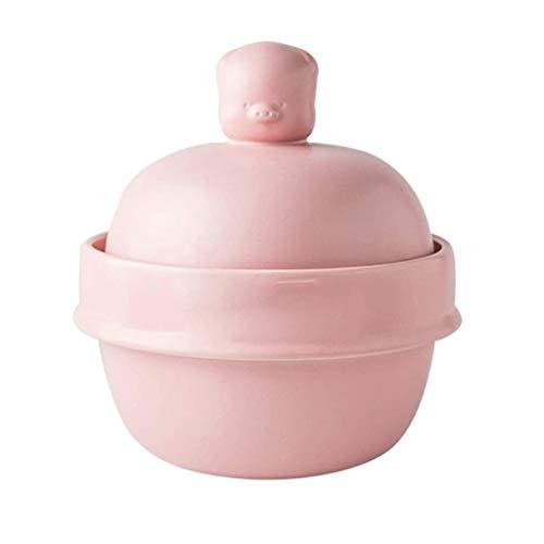 YWSZJ Fuego con Tapa de cerámica Pura Sopa de crisol de la Sopa del pote Redondo de cerámica cazuela de Barro Crisol de Arcilla del pote de cerámica con la Resistencia térmica