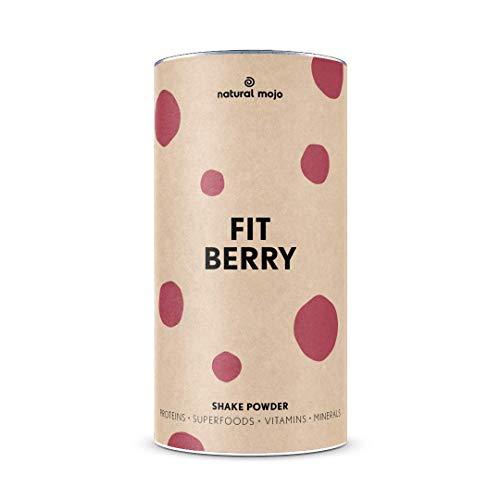 Natural Mojo Fit Berry – Fit Shake (500 g) – Shake mit wertvollen Superfoods – leckerer Drink aus leicht löslichem Eiweißpulver – mit Beeren-Geschmack