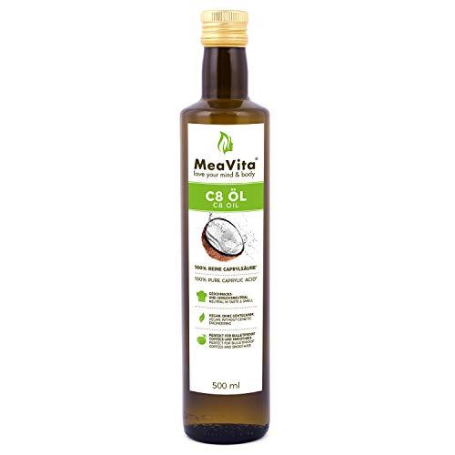 MeaVita C8-Öl, auf Kokosöl Basis, (1x 500ml) MCT Öl in Glasflasche, Caprylsäure, Keto