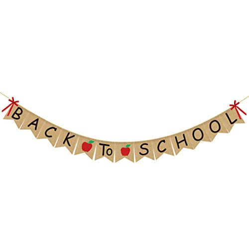 Back To School Banner Burlap - Back to School Party Decorations Supplies - First Day of School Banner - Classroom Office School Hanging Decor Sign - Teacher Banner