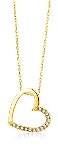 Miore Anhänger Kette mit Herz Gelbgold 18 Karat / 750 Gold Diamant Brillianten 0.09 ct 45 cm