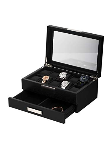 Rothenschild Uhren- & Schmuckbox RS-2351-10BL für 10 Uhren Black
