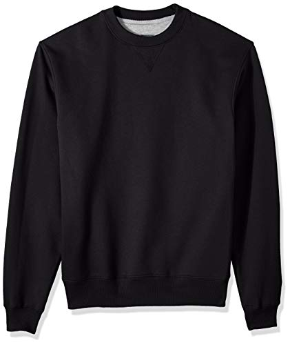Champion Men's Cotton MAX Fleece Crew, Black, Medium