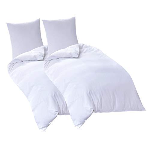 RUIKASI Bettwäsche 135x200 4teilig Weiß 100% Super Weiche und Angenehme Mikrofaser, 2 x Bettbezüge 135 x 200 mit Reißverschluss, 2X Kissenbezüge 80 x 80 cm, Schlafkomfort (4 TLG. 135 x 200 cm, weiß)