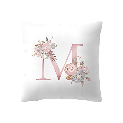 BIGBOBA Kreativ Brief Kissenbezug mit Blumenmuster Pillowcase Sofa Kissen Englisch Alphabet Kissenbezüge Dekorativer Kissenbezug 45cm*45cm (M)