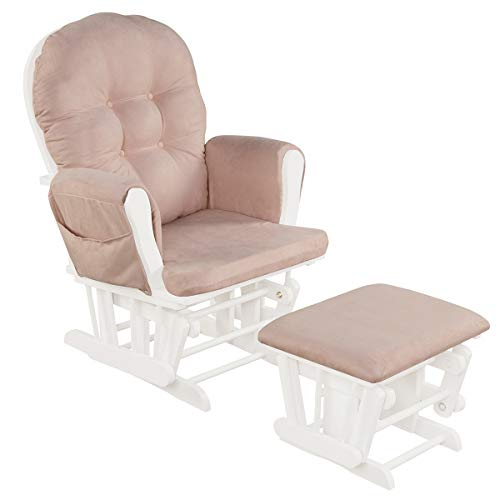 Costzon Baby Glider and Ottoman Cushion Set, Wood Baby Rocker Nursery Furniture, Upholstered Comfort Nursery Chair & Ottoman with Padded Arms (Pink)