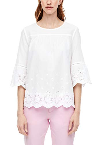 s.Oliver RED Label Damen Bluse mit Lochstickerei White 44