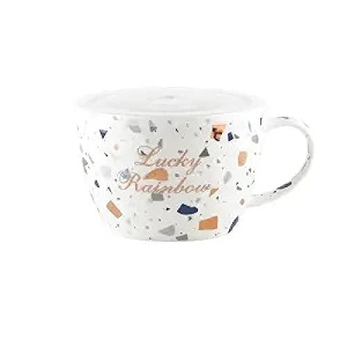 TENGCHUANGSM 15 * 10CM cerámica Blanca Taza de café de Gran tamaño con Tapa Soporte de Cuchara fácil de Limpiar fácil de Limpiar Taza de Mango de cerámica Pareja Taza de café F