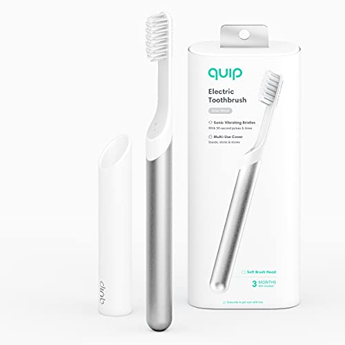 Quip Electric Toothbrush - Silver Metal - Electric Brush and Travel Cover Mount - Frustration Free Packaging