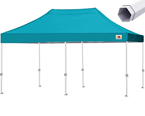ABCCANOPY Premium Pop Up Canopy Tent Commercial 10x20 Instant Shelter, Bonus Wheeled Carry Bag and 4 Sand Bags, Turquoise