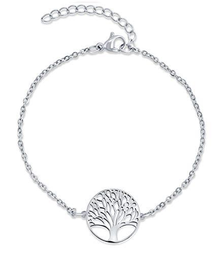 Nuoli® Lebensbaum Armband Damen Silber (15 + 5cm verstellbar) Baum des Lebens Armkette für Frauen & Mädchen, aus poliertem Edelstahl