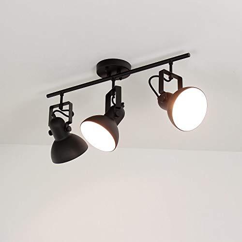 Deckenstrahler DALLAS Schwarz Metall 3-flammig E14 Retro praktische Lampe Spot Wohnzimmer Flur
