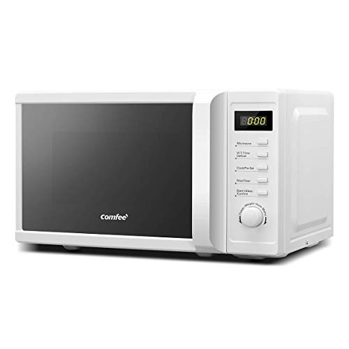 COMFEE' 700 w 20 Litre Microwave Oven with Mirror Surface, 8 Cooking Presets, Express Cook, 5 Power Levels, Quick Defrost – Modern White - CM-M20PWF(WH)