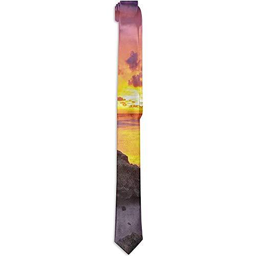 Corbata Puesta del sol en la playa Horizonte en la isla Paisaje idílico mágico, corbatas para hombres