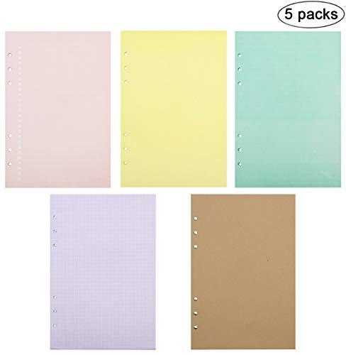 Knuffelig gereglementeerd/Plain/te doen lijst/Blank vullingen invoegen vulpapier Pagina's voor 6 Ronde Ring Binder Journal Planner Diary, A6 Grootte, Verschillende kleuren, 40 Sheets/Pack.Pack van 5