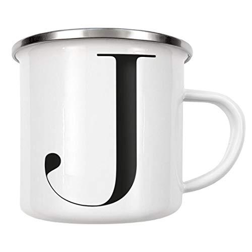 artboxONE Emaille Tasse Minimalisttischer Buchstabe J von Dunja Krefft - Emaille Becher Buchstaben/J