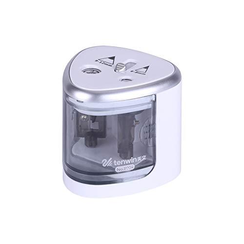 Aibecy Sacapuntas eléctrico automático de 2 agujeros (6-8 mm/9-12 mm), funciona con pilas, para uso doméstico y escolar, color azul, color azul plateado