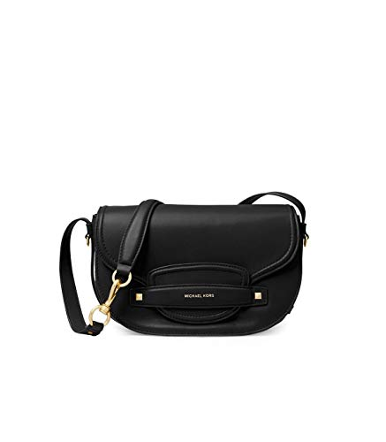 """Smooth leather with tuck in flap Gold-Tone Hardware. Magnetic Flap Closure Handle Drop: 9.5"""", Adjustable Strap: 12""""-14"""" Exterior: Back Slip Pocket. Interior: Back Zip Pocket , Back Slip Pocket, 3 Back Card Slots, Front Slip Pocket 10""""W X 6.5""""H X 4.5""""..."""