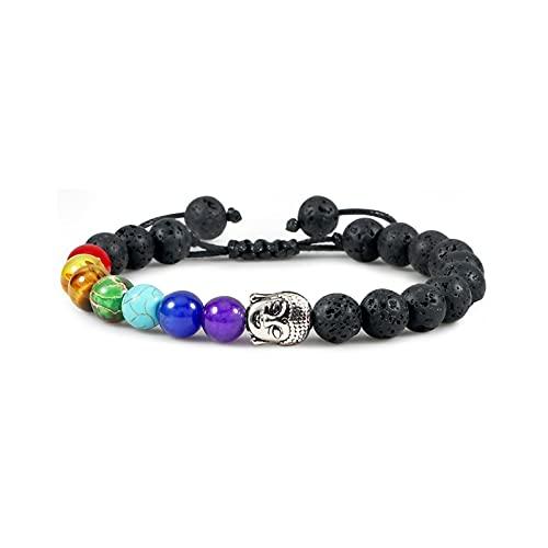 WANSHIDA QiQi Shop Pulseras de Chakra de Piedra Natural y brazaletes de Yoga Balance Beads Buddha Oración Pulsera Elástica Hombres (Metal Color : Antique Silver Plated)