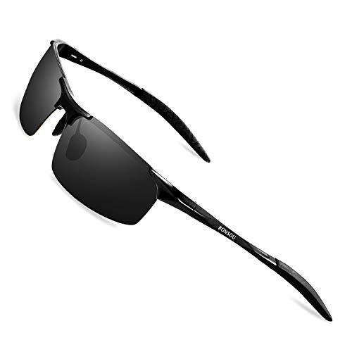 RONSOU Herren Sportbrille Polarisierte Sonnenbrille Al-Mg Metallrahme Ultra leicht Fahrerbrille Schwarzer Rahmen Blaue Linse