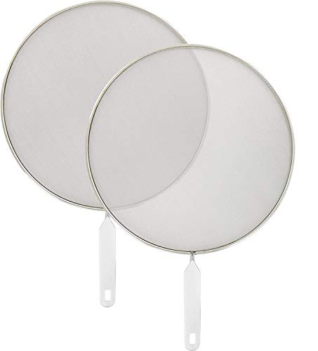 Ram-Pro Grease Splatter Screen for Frying Pan 12 inch Stainless Steel Plastic Handle with Hanging Hole Hot Oil Splash Splatter Guard for Cooking Fine Mesh Stops Stove Pack of 2