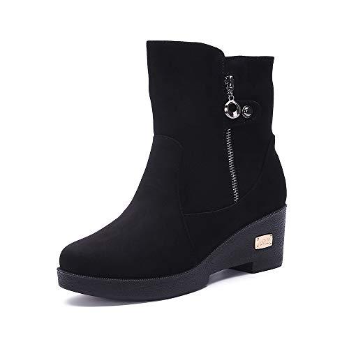 Botas de Nieve Zapatos para Invierno Mujer Piel Forradas Calientes Casual Calzado Antideslizante Botines 35-41EU