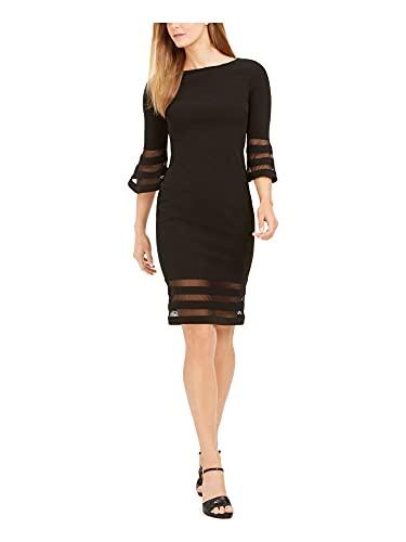 Calvin Klein Women's Bell Sleeve Sheath with Sheer Inserts Dress,...