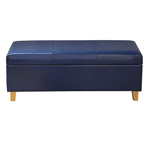 YCSD Faux Leather Storage Ottoman with Wooden Legs,Large Capacity Storage Space,Multipurpose Footstools Ottomans for Bedroom, Living Room Or Hallway(Color:Blue,Size:100cm)