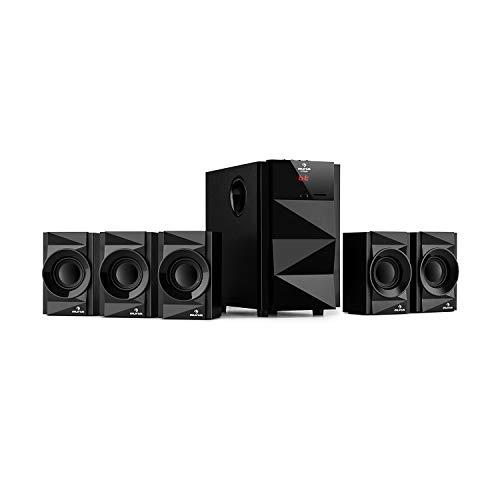 AUNA Z-Plus 5.1 - Sistema di Altoparlanti, Potenza 70W RMS, Subwoofer OneSide, Balanced Sound Concept, Bluetooth, USB, SD, Telecomando, Nero