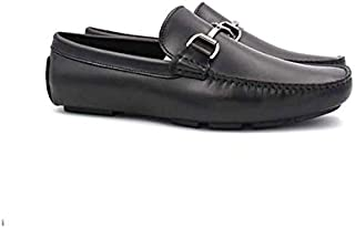 Genuine Cow Leather Men's Loafer Slip-on Flat Casual Hoog Shoes with Metal Buckle, Black