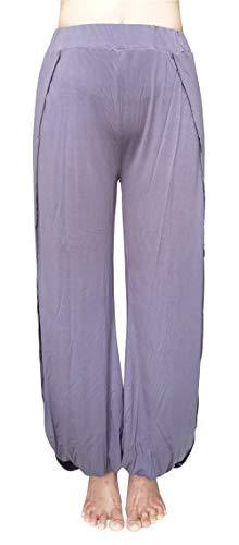Hoerev Pantaloni da donna con taglio morbido, Harem Dance Yoga Pilates, colore grigio scuro, taglia XS