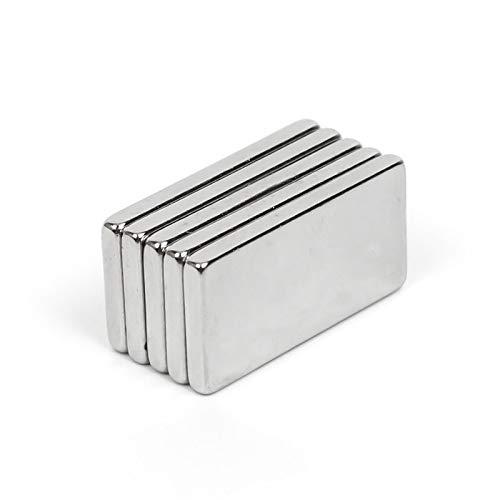 5 Stück 20 x 10 x 2 mm N35 Superstarke, leistungsstarke Neodym-Magnete blockieren Seltenerd-Craft-Permanet-Kühlschrankmagneten 20 * 10 * 2