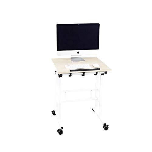 Wenhaus höhenverstellbarer Schreibtisch mit Verstellbarer Monitorebene - Computertisch mobiler Schreibtisch mit schwarzem Gestell (Ahorn)